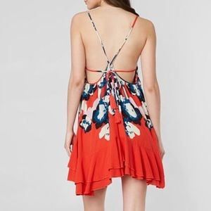 Free People Dresses - Free People red blue floral backless sundress sz L